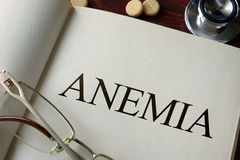 Book with diagnosis anemia and pills. Stock Image