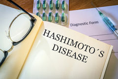 Book with diagnosis Hashimoto disease. Medical concept Royalty Free Stock Photography