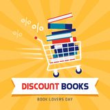 Book discount on book lovers day. Book sale discount on book lovers day, shopping ad design with shopping cart stock illustration