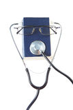 Book Doctor stethoscope and glasses. Royalty Free Stock Photos