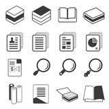 Book, document icons. Set of 16 book, document icons Royalty Free Stock Photo