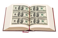 Book with dollar pages. Isolated on white background Stock Photos