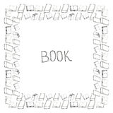 Book doodle frame. Black and white hand drawn square border Royalty Free Stock Photography