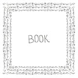 Book doodle frame. Black and white hand drawn square border. Reading and education concept Royalty Free Stock Photography