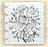 Book doodle on paper note, vector illustration Stock Photos