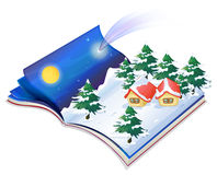 A book with a drawing of a snowy night Royalty Free Stock Photo