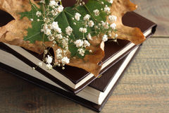 Book and dried flowers. Dried flowers and books on wooden background stock photos