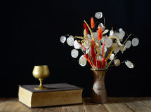 Book and dried flowers Royalty Free Stock Image