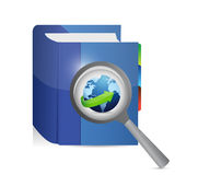 Book education magnify investigation. Stock Photography
