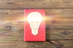 Book, electric light bulb from wooden puzzles on a wooden background. royalty free stock images