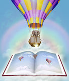 Book and elephant in the sky. Illustration Stock Photos