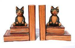 Book Ends. Carved wooden cat book ends Royalty Free Stock Photography