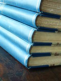 Book Ends. Closeup shot of the end of a stack of books stock photos