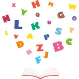 Book in English. The alphabet jumps out of a book Stock Image