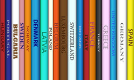 Book Europe Destinations. Book spines with different European travel destinations royalty free illustration