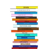 Book Europe Destinations Tower. Tower of books with different European travel destinations stock illustration