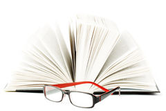 Book with eyeglass Stock Photography