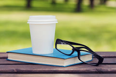 Book, eyeglasses and paper cup with coffee on a bench in park in a sunny day, reading in the summer, education, textbook Royalty Free Stock Images