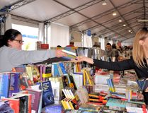 Book Fair in Brescia `Librixia` untranslatable. Bookstores large and small display their best books. Stock Images