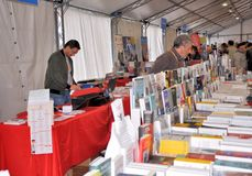 Book Fair in Brescia `Librixia` untranslatable. Bookstores large and small display their best books. Stock Photos