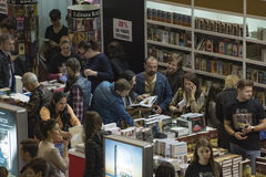 Book Fair. Bucharest, Romania – November 21, 2015: People at the Gaudeamus Book Fair at Romexpo in Bucharest, Romania Royalty Free Stock Photography