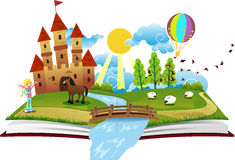 Book of Fairy Tales. Journey into the world of fairy tales and magic vector illustration