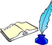 Book, Feather and Ink Royalty Free Stock Photography