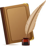 Book and feather with inks Stock Images