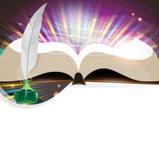 Book and feather Stock Photos