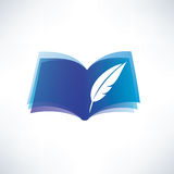 Book and feather symbol Stock Image