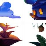 Book Figure Elements. Leaf, Plant, Flower, House. Illustration Elements. Book Figure Elements. Leaf, Plant, Flower, House. Realistic Fantastic Cartoon Style Stock Images