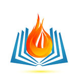 Book on fire flame emblem logo. Book on fire flame icon design illustration Royalty Free Stock Photography