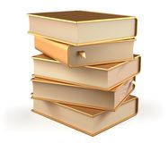 Book five textbooks golden stack of books covers gold blank. Book five textbooks golden stack of books covers gold yellow blank bookmarks. School library Stock Images