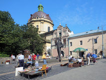 Book flea market near in Lviv, Ukraine Royalty Free Stock Photos