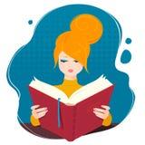 book flickaavläsning Royaltyfri Fotografi