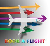 Book A Flight Shows Trip Booking 3d Illustration. Book A Flight Plane Shows Trip Booking 3d Illustration Stock Photo