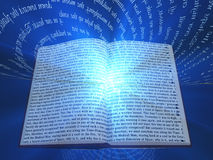 Book with floating text Royalty Free Stock Image