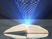 Book floating text and light Royalty Free Stock Image