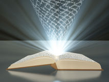 Book with floating text Royalty Free Stock Photography