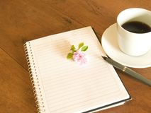 Book, flower and coffee Royalty Free Stock Photos
