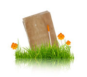 Book with flower and grass Royalty Free Stock Images