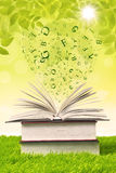 Book with flying letters on green grass. Stack of books with flying letters on green grass Royalty Free Stock Photo
