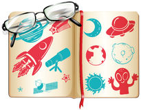 Book full with science symbols Royalty Free Stock Photos