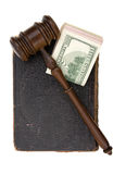 Book, gavel, dollar Stock Photography