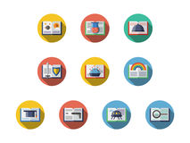Book genres round flat icons set. Samples of books with various literary genres. Literature, education and reading leisure. Symbols for library and book stores Stock Photos