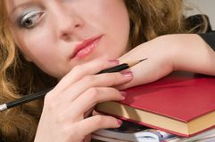 The book and the girl. Royalty Free Stock Photo