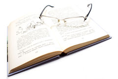 Book and glases. Isolated book and frame glases Royalty Free Stock Image
