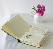 Book and glasses. Open blank book and glasses Stock Photos