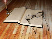 Book, glasses and a candle Stock Images