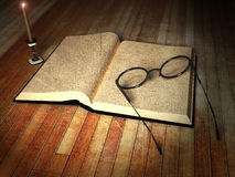 Book, glasses and a candle Royalty Free Stock Photo